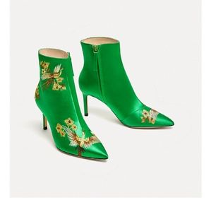 New Zara Embroidered Crane Satin Ankle boots